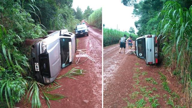 Camioneta volcó cerca del SaltoKrysiuk