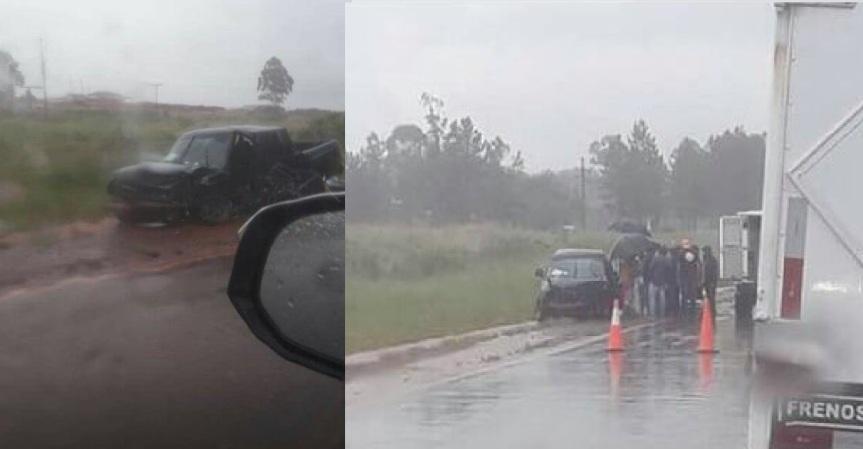 Choque entre una camioneta y un auto en la ruta14