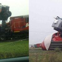 Tren arrolló un camión, el chofer se arrojó de la cabina antes del impacto