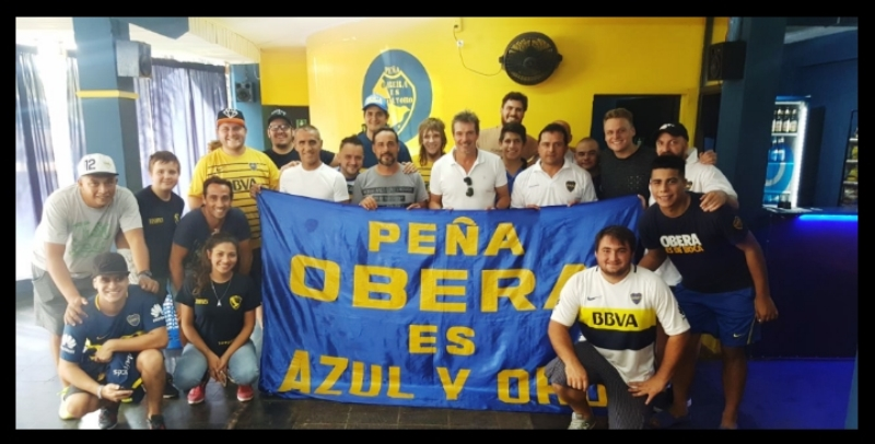 """Estrellas de Boca visitaron la """"Peña Oberá es Azul y Oro"""" en la previa al """"Partido de Las Estrellas"""""""