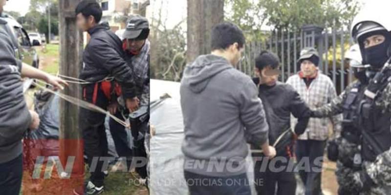 Vecinos capturaron a un ladrón y lo ataron a unposte