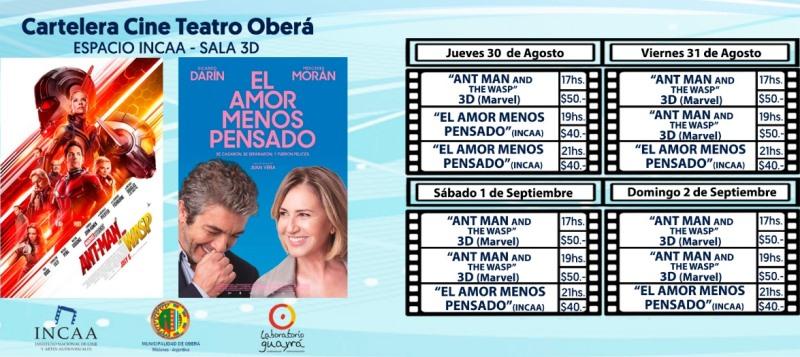 """""""El amor menos pensado"""" y """"AntMan and TheWasp"""" en el CineIncaa"""