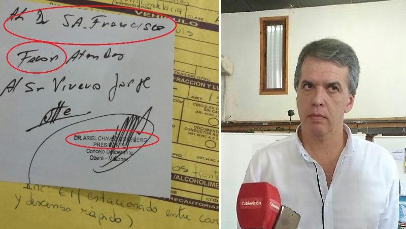 Pedidos de favores de Chaves al Juez de Faltas por multas detránsito