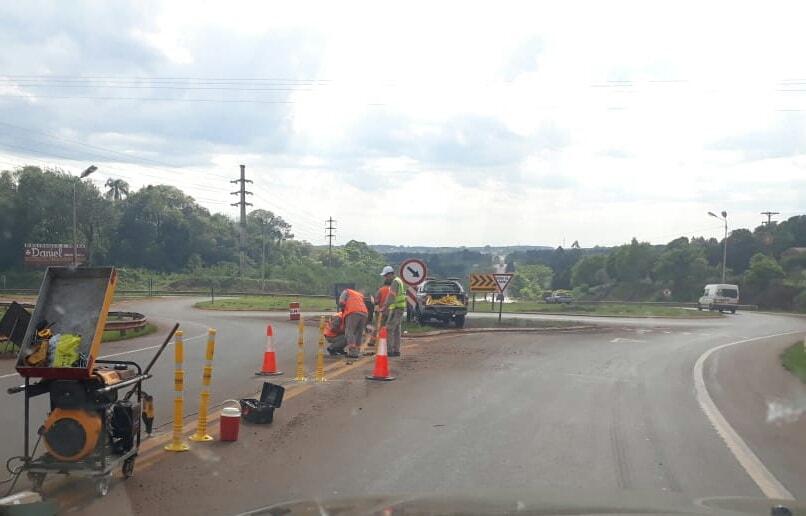 Vialidad colocó elementos de seguridad en la rotondaKaraben
