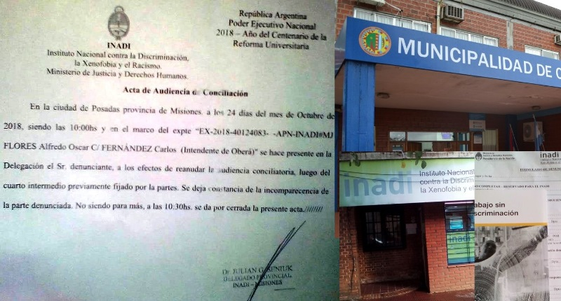 Funcionarios municipales faltaron a la segunda Audiencia conciliatoria en el INADI por la denuncia dediscriminación