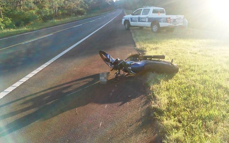 Motociclista despistó en la ruta 14 y terminóherido