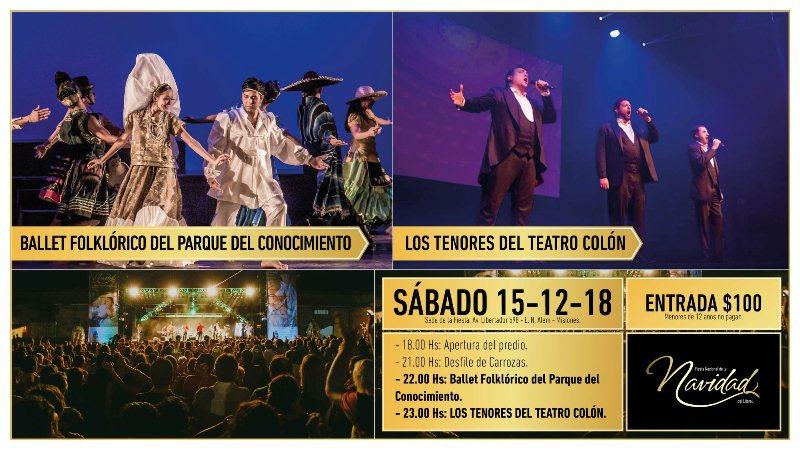 """""""Los Tenores del Teatro Colón"""" cerrarán el sábado en la Fiesta Nacional de laNavidad"""