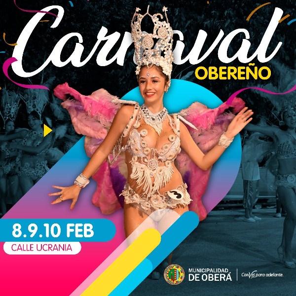 Los carnavales obereños serán los días 8, 9 y 10 defebrero