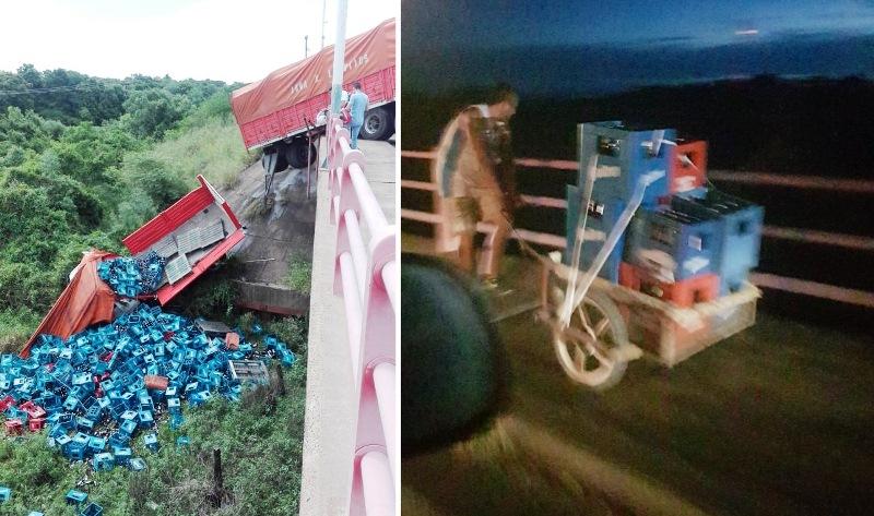 Camión con cervezas chocó, cayó del puente Belgrano y volcó lacarga