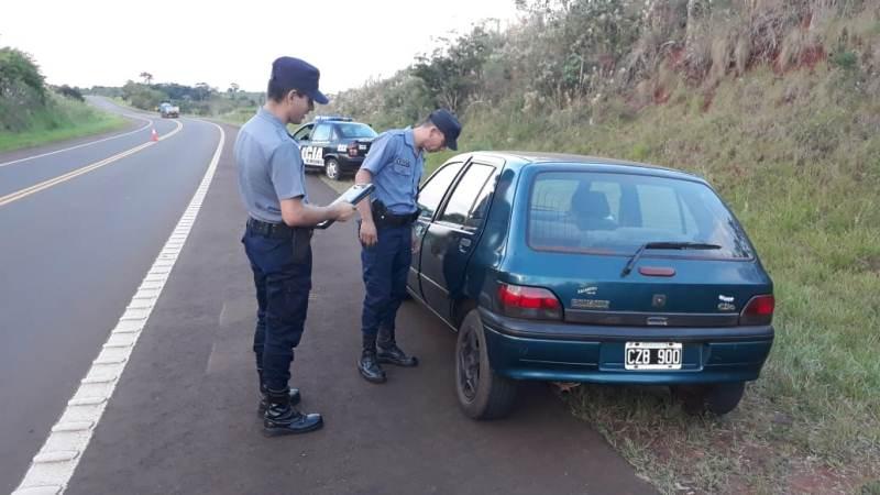 Hallaron abandonado en la ruta 14 auto robado en Brasil con patentesargentinas