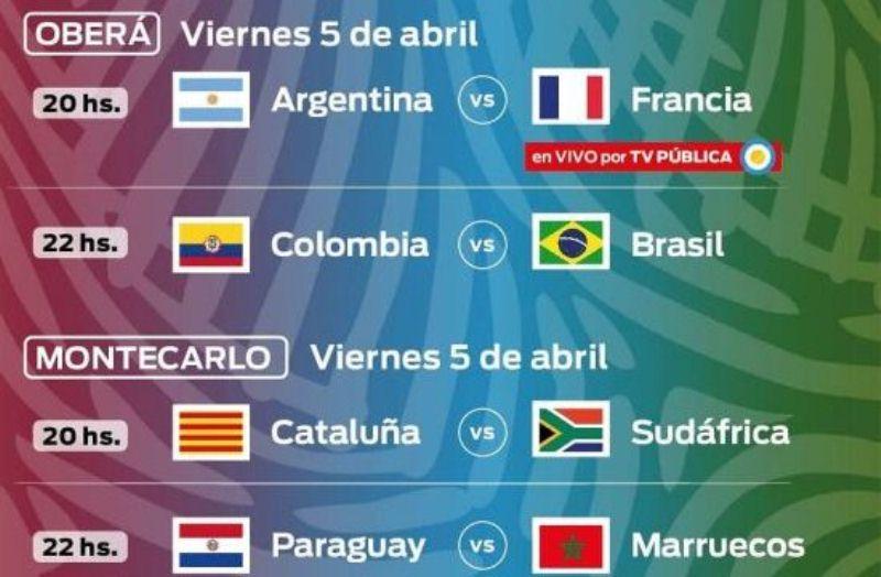 Argentina-Francia y Colombia-Brasil el viernes enOberá