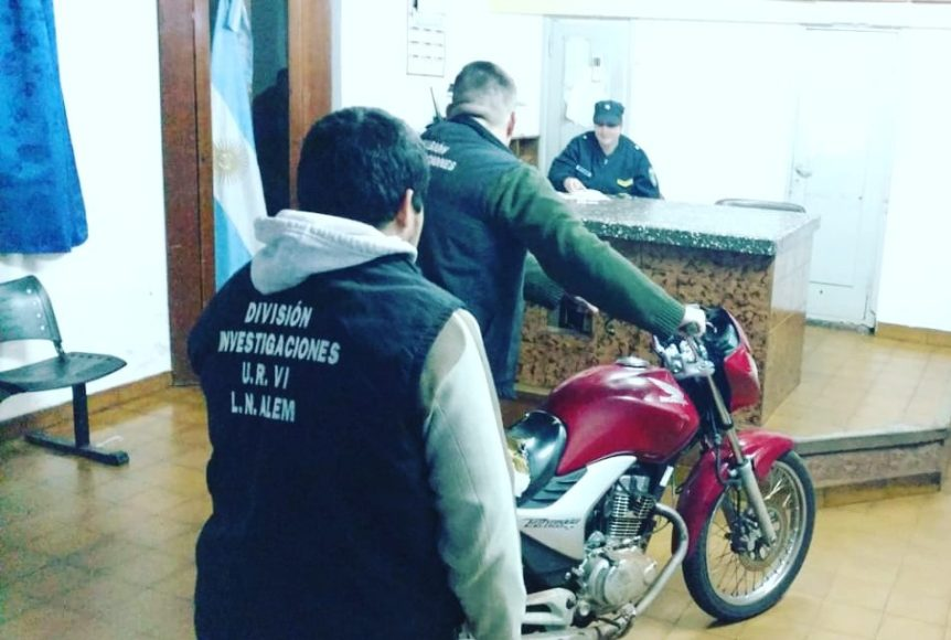 Hallaron moto en Alem que fue robada enBrasil
