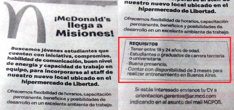 McDonald's pide como requisito que los postulantes sean estudiantes oegresados