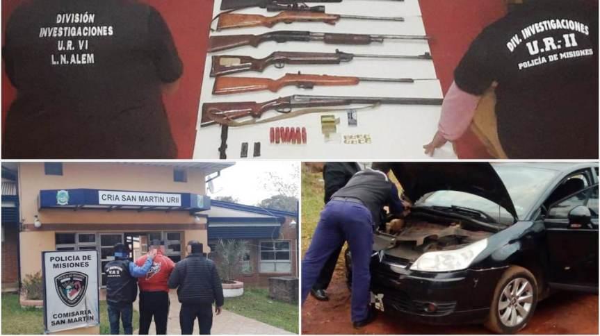 Allanamientos: Tras robos en Alem, secuestraron un arsenal de armas en Oberá y hay undetenido