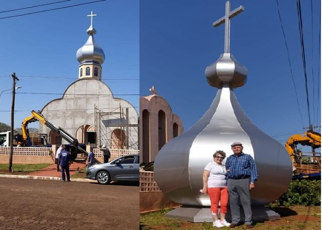 """Metalúrgica """"El Suizo"""" hizo una imponente cúpula que donó la familia Gerula a unaiglesia"""