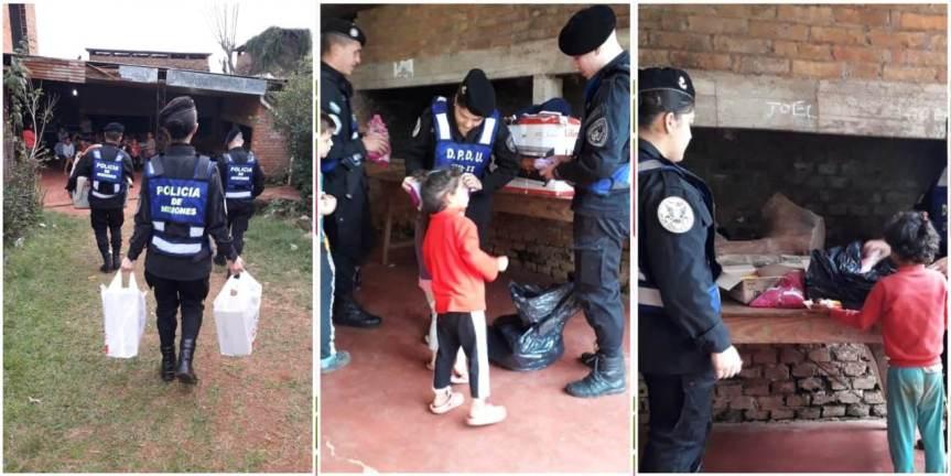 Policías donaron ropas y calzados a niños en unmerendero