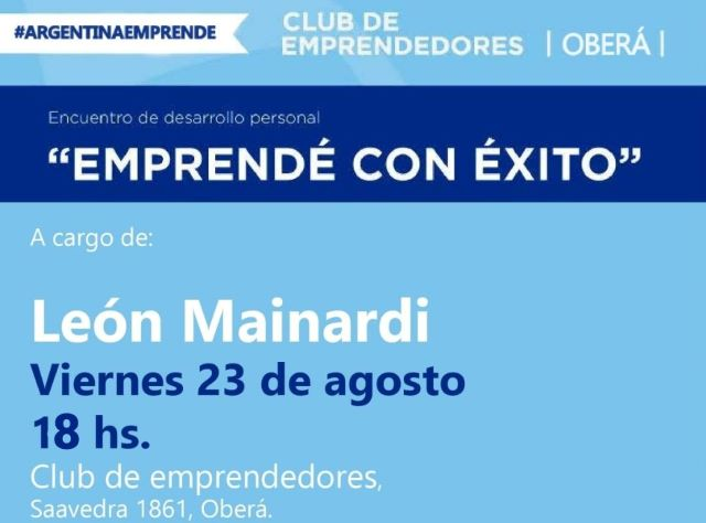 """El seminario """"Emprende con Éxito"""" se hará en el Club de Emprendedores el 23 deagosto"""