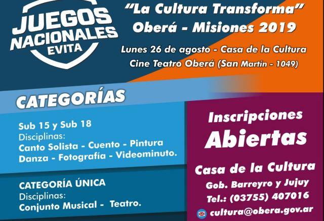 Hasta el 23 de agosto estarán abiertas las inscripciones para los Juegos CulturalesEvita