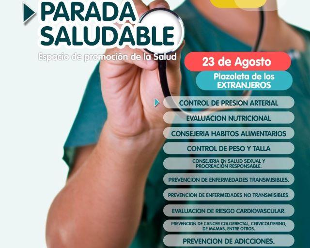 El viernes habrá Parada Saludable en la plazoleta de losExtranjeros
