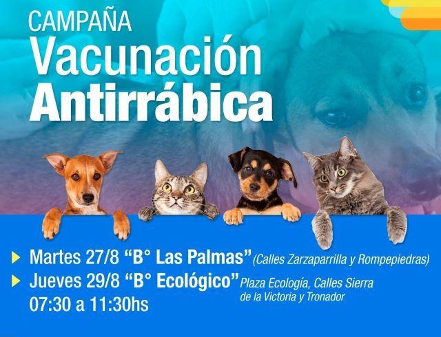 Habrá vacunación antirrábica en Las Palmas el 27 y en Bº Ecológico el29