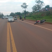 Motociclista intentó atravesar la ruta 14 y fue impactado por un auto