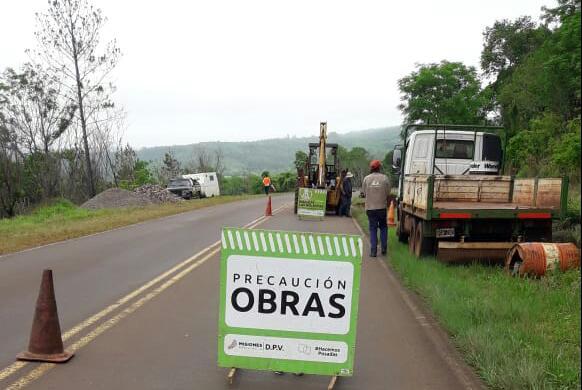 Vialidad realizó bacheo en RP Nº 103, en zona del acceso a Col.Acaraguá
