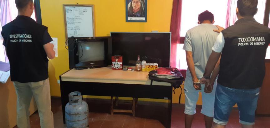 Dos jóvenes fueron detenidos por el robo de dos televisores, una garrafa y un reloj depulsera