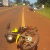 Motociclista perdió una pierna tras chocar con un auto en la ruta 14