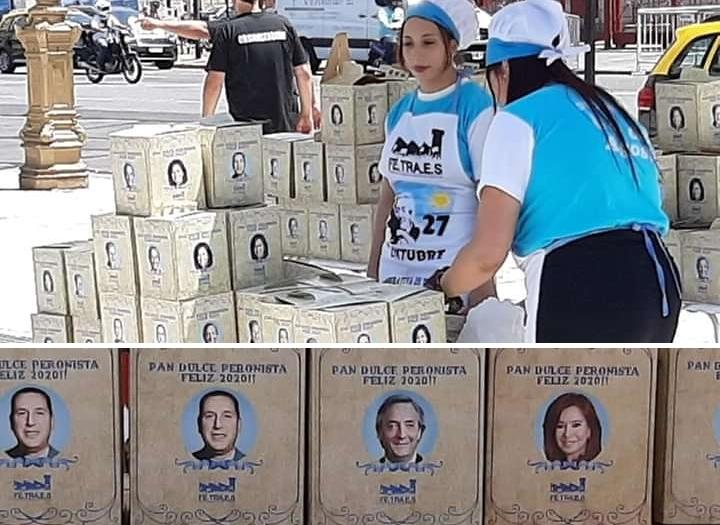 """Por $200 pesos, militantes se llevaron un """"Pan Dulce Peronista"""""""