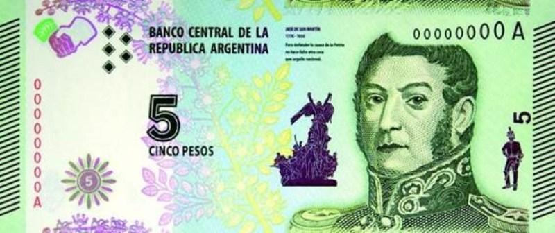 Extendieron el uso de los billetes de 5 pesos hasta el 31 demarzo