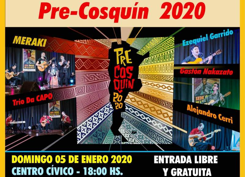 Artistas ganadores del PreCosquín brindarán una peña el domingo en el CentroCívico