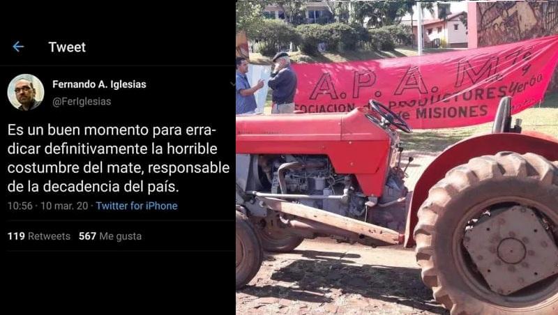 """Enojo de los yerbateros: """"el diputado Iglesias es un parásito, no puede ocupar un cargopúblico"""""""