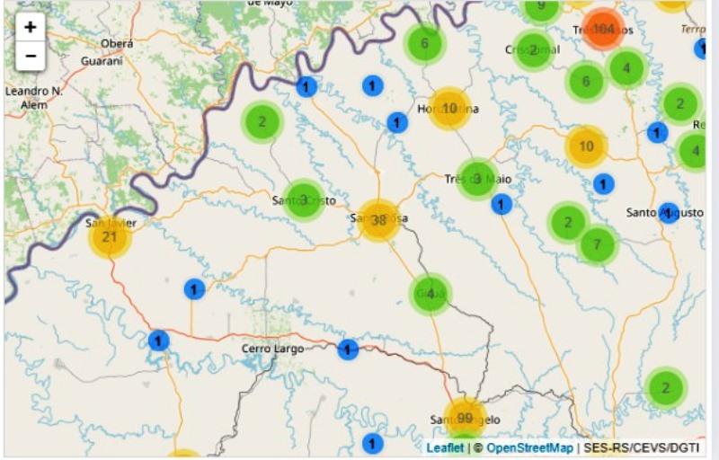 37.000 casos entre Río Grande, Paraná y Santa Catarina: Santa Rosa registra 38, Santo Angelo 99 y Porto Xavier21