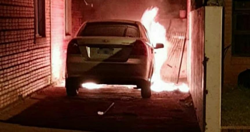 Se incendió el auto del segundo Jefe de la Unidad RegionalVIII