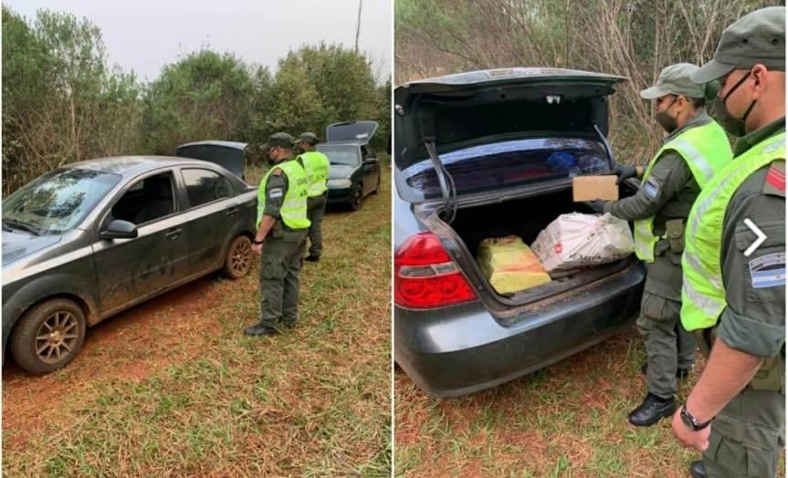Interceptaron dos autos con 253 kilos de marihuana en la ruta103