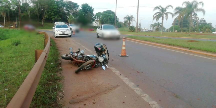 Motociclista despistó en la rotonda del Parque de lasNaciones