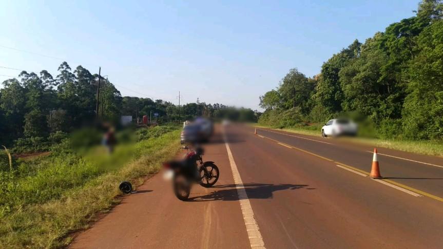 Motociclista herido tras ser embestido por un auto en la ruta14