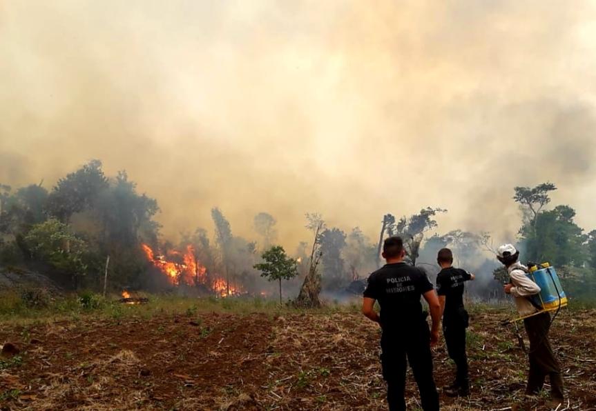 El fuego consumió casi 400 hectáreas en Caá Yarí, 65 en Cerro Azul y 170 enBonpland