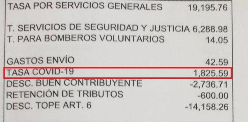 """Municipios ya cobran la """"tasa Covid-19"""" según los metros cuadrados de lapropiedad"""