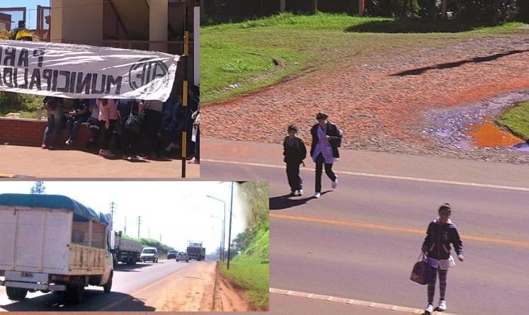 """Sin inspectores por el paro de municipales: alumnos no pueden cruzar la ruta 14 para ir a la escuela 395: """"pedimos que venga lapolicía"""""""